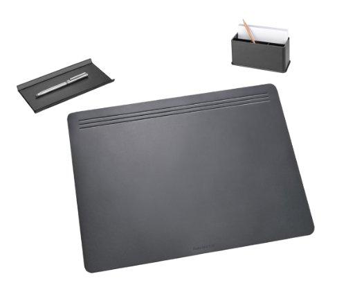 Läufer 36017 - Ambiente MATTON Ganitur 3-teilig - 1x Schreibunterlage 50 x 70 cm, 1x Federschale, 1x Combi-Box - schwarz