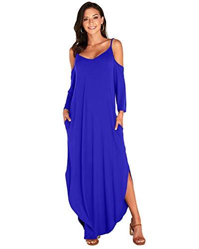 VONDA Kleid Damen Herbst Langarm Sexy Maxikleider Schulterfrei Kleider Lang Elegant Jerseykleider Lose Rundhals Winterkleid 1A-Blau L
