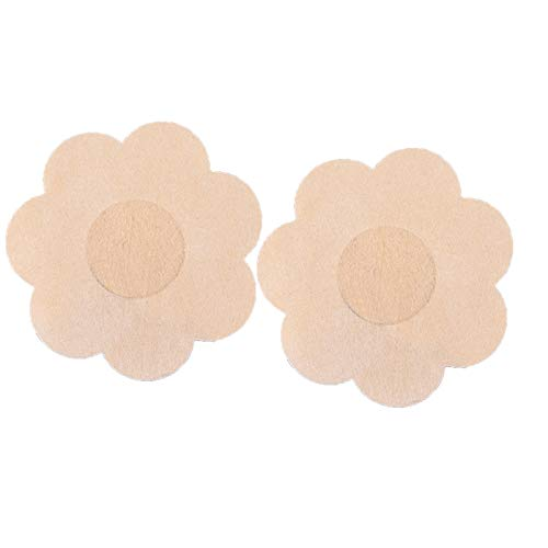 Laonajkd 4 Pares Cubierta de Pezón Pezoneras para Mujer - Bolsa de Almacenamiento de Algodón, Pezones Reutilizables Pegatinas (Forma de Corazón, Forma de Flor, Forma de Círculo)