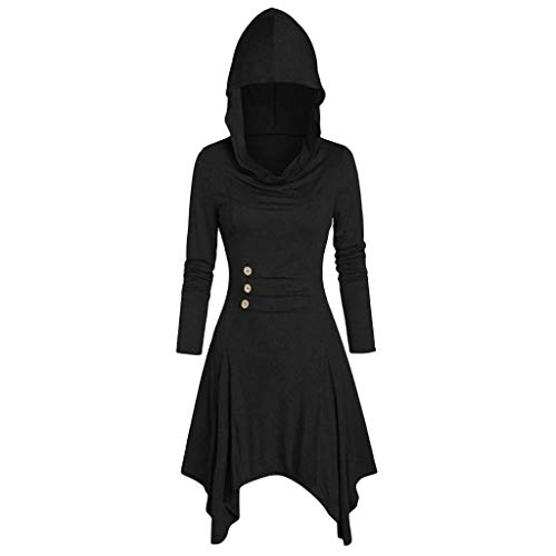 SHOPESSA Hooded Cloak Dress for Women Plus Size Steampunk Gothic Clothes Long Sleeve Short Halloween Medieval Hoodie Dresses Black