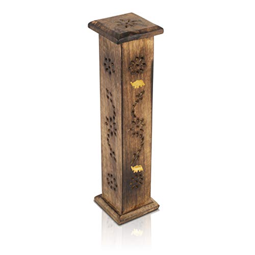 Wooden Incense Stick & Cone Burner Holder Tower Large Organic Eco Friendly...