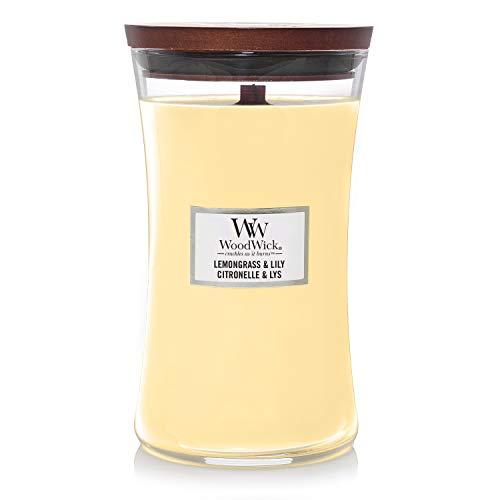 Woodwick Hourglass Candela Profumata Grande con Stoppino Scoppiettante, Lillà, Fino A 130 Ore, Beige (Citronella e Giglio)