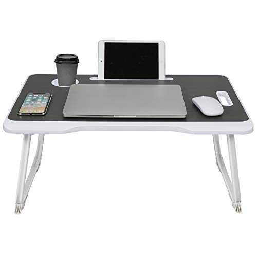 RHtvrll Laptop Desk, Laptop Bed Table, Foldable Laptop Bed Tray, Portable Notebook Table Desk, Lap Standing Desk, Notebook Stand with Tablet Slot & Cup Holder for Watching, Reading Working on Bed Sofa