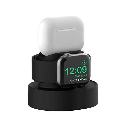 SOKUSIN Soporte Carga para Apple Watch,Poseedor Fácil Instalación para Apple Watch 38/40/42/44mm iWatch 1/2/3/4/5,Cargando Y Nocturno Soporte Modo,AirPods Pro Muelle Cargador(Cable NO Incluidos)