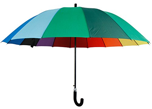 MIK Funshopping XXL-Antisturm-Schirm Automatik Rainbow Regenschirm Partnerschirm Regenbogen Ø 120cm mit 16 Segmenten