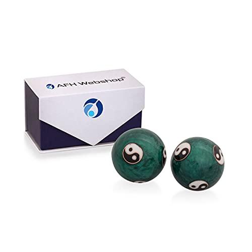 Meditation Qi-Gong-Kugeln mit Klangwerk   Klangkugeln   Yin Yang   Design Yin Yang grün   verschiedene Durchmesser … (Ø 35 mm)