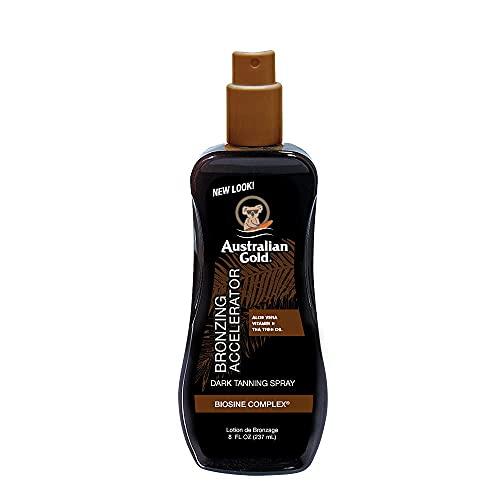 Australian Gold Dark Tanning Accelerator Spray Gel With Bronzer | 8 Fl Oz, Multicolor, AGCB175(Packaging May Vary)