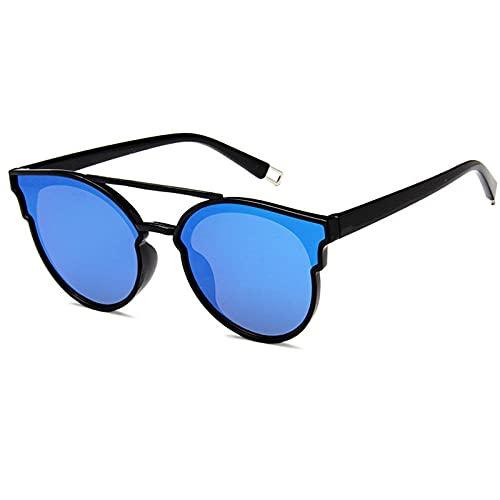 WQZYY&ASDCD Gafas de Sol Gafas De Sol Transparentes con Lente De Plástico para Hombre, Moda Clásica, Retro, Uv400, Espejo, Gafas De Sol para Mujer, Ojo De Gato, Azul