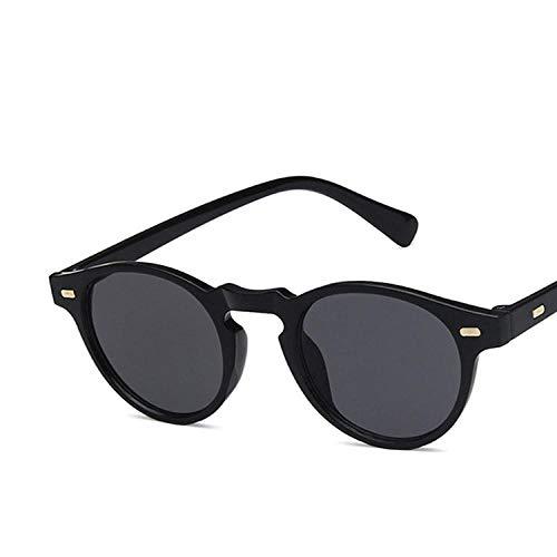 DLSM Klassische Vintage runde Sonnenbrille Nieten Small Fram Frauen & Männer Sonnenbrille Strand Sonnenbrille Fahrbrille-Schwarz
