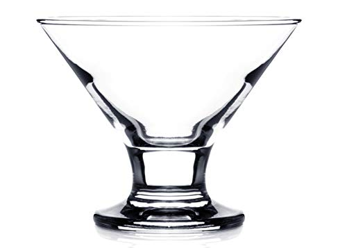 Orion Classic Footed Dessert Cups, Clear Glass Ice Cream Bowls - Perfect for Parfait Fruit Salad or Pudding, Set of 6, 8.5 OZ