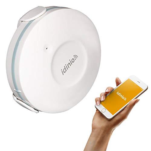 idinio® Sensor alarma de agua inteligente WiFi. App para iOS, Android. Notificación de urgencia. Compatible con Tuya Smart, Smart Life. Batería CR2 5 años incluida