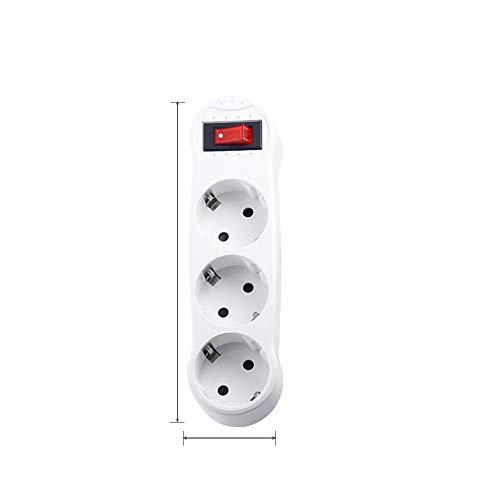 LISRUILY - Regleta de pared múltiple con 3 tomas de pared, enchufe múltiple (4000W/16A)