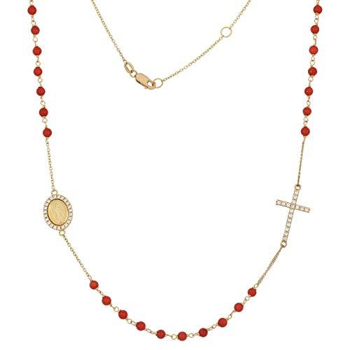 Gioiello Italiano - Collana rosario in oro giallo con corallo o turchese, da donna, lunghezza 45cm (Pasta di Corallo)