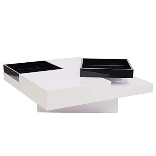 Mendler Couchtisch HWC-G85, Wohnzimmertisch Sofatisch Beistelltisch, Tablett Ablagefach Hochglanz 29x80x80cm ~ weiß, schwarz