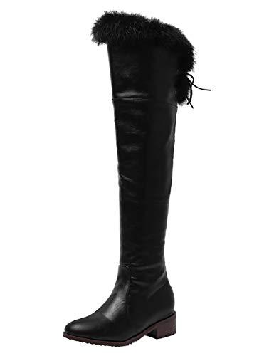 BIGTREE Damen Hohe Stiefel Gefüttert Winter Leder Overknees Reitstiefel Mode Stiefeletten mit Blockabsatz Flandell Schwarz 47 EU