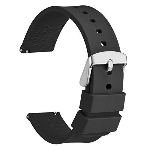WOCCI 20mm Silicona Correa Reloj con Hebilla Plateada, Liberación Rápida para Hombre Mujer (Negro)