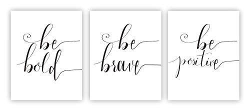 """Inspirational Phrases Quote Be Positive, Be Bold, Be Brave Art Print Set of 3(8""""X10""""Canvas Painting Motivational Phrases Wall Art Poster Kids Room or Office Home Decor (Unframed)"""