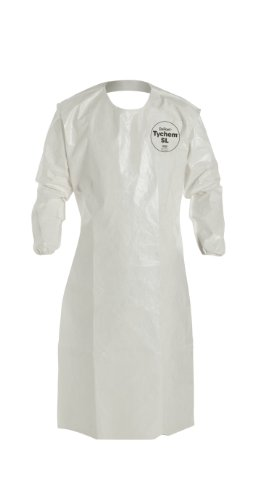 DuPont - SL278BWH00001200 Tychem 4000 Disposable Sleeved Chemical Resistant Apron with Elastic Cuff and Bound Seams, White, Universal, 12-Pack