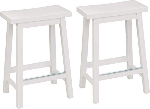 AmazonBasics Classic Solid Wood SaddleSeat Kitchen Counter Stool with Foot Plate 24 Inch White Set of 2