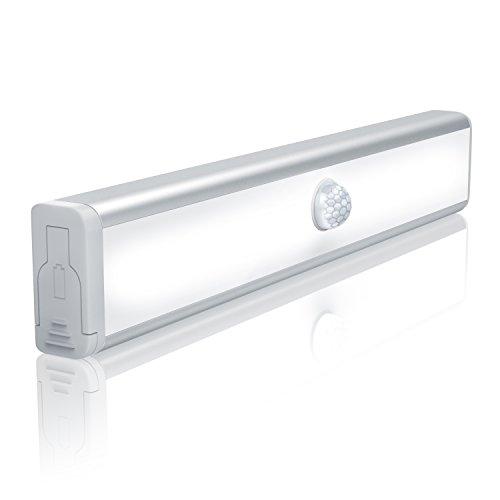 Schrankleuchte mit Bewegungsmelder - LED Schranklampe Unterbauleuchte - PIR-Sensorlicht - 10x LED warmweiß - batteriebetrieben - Energieklasse A - schraubenlose Installation