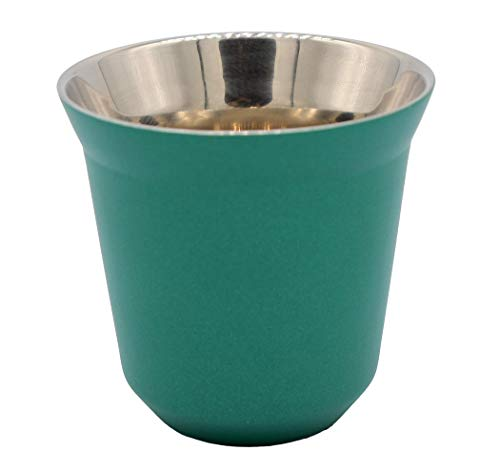 Xiaoyu 304 Edelstahl Espressotassen doppelwandig wärmeisoliert Kapsel Kaffeetasse, 2,71oz/80ml, grün