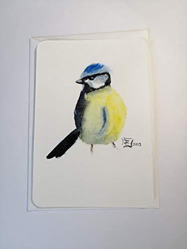 kleines Gemälde/Postkarte/Blaumeise/ohne Beschriftung/Original handgemalt/Unikat/Aquarell/kein Druck