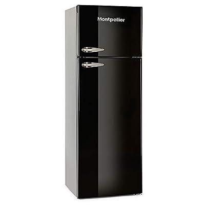 Montpellier MAB345K Retro Top Mount Freestanding Fridge Freezer - Black