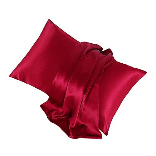 Juego de 2 fundas de almohada de seda de morera pura para cabello y piel, 2 unidades