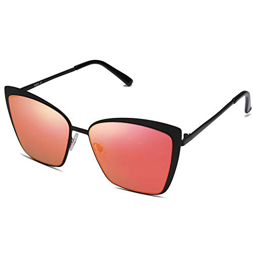 SOJOS Cateye Sunglasses for Women Fashion Mirrored Lens Metal Frame SJ1086 with Matte Black Frame/Red Mirrored Lens
