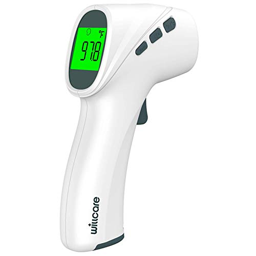 Non-Contact Forehead Thermometer for Adult, Kids, Baby, Accurate Instant Readings Touchless Infrared Thermometer with Digital LCD Display, Batteries, Fever Alarm
