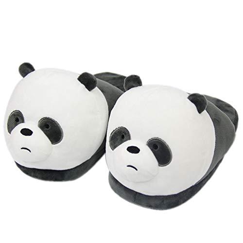 SHJMANSY Bequem Süßer Plüsch Hausschuhe Cartoon-Bär, rutschfeste Heiß Winter Hausschuhe, Lustig Unisex Pantoffel rutschfest, Panda