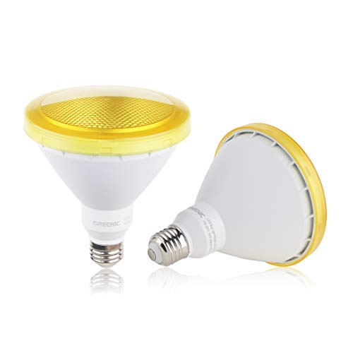 Yellow LED Light Bulb, 2 Pack Par38 15W (100W Equivalent) 1300lm, E26 Medium Base Flood Light Bulb for Outdoor, Indoor, Porch, Patio, Yards, Home