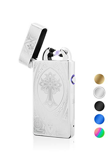 TESLA Lighter T08 Motiv Kreuz Silber Lichtbogen Feuerzeug USB Aufladbar Elektro Sturmfest Plasma Doppel-Lichtbogen mit Akku