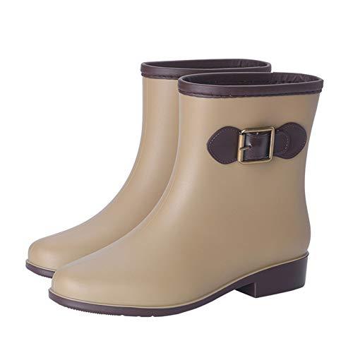 LINGZE Zapatos de jardín a Prueba de Agua, Botas de Media Pantorrilla para Mujer, Calzado Protector con Hebilla Ajustable