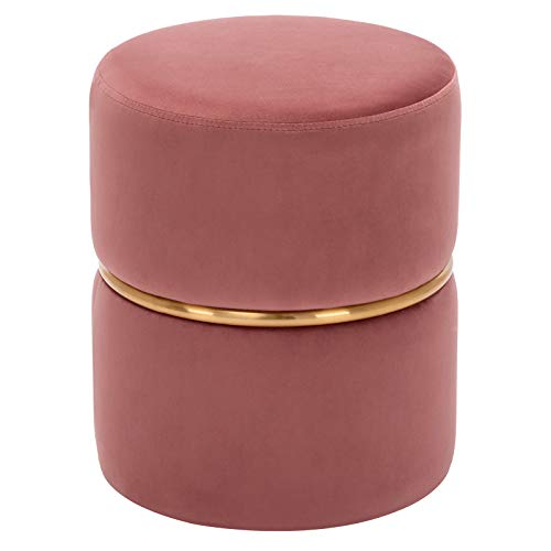 Duhome Sitzhocker Hocker Rund Polsterhocker Schminkhocker edles Design 9123, Farbe:Rosa, Material:Samt