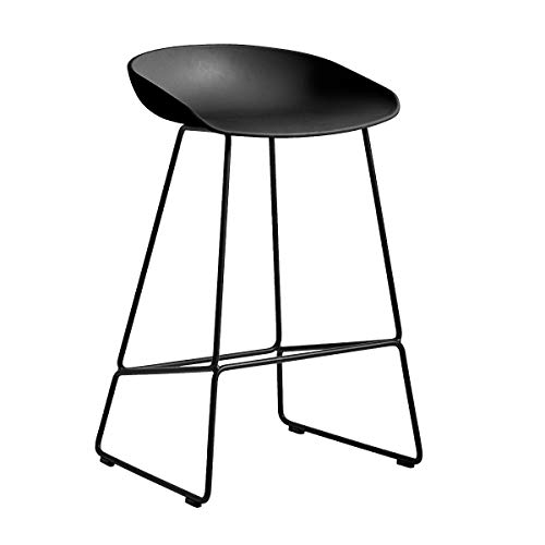 HAY AAS 38 Barhocker niedrig Gestell schwarz, schwarz Sitzschale Polypropylen Gestell Stahl schwarz pulverbeschichtet mit Kunststoffgleitern