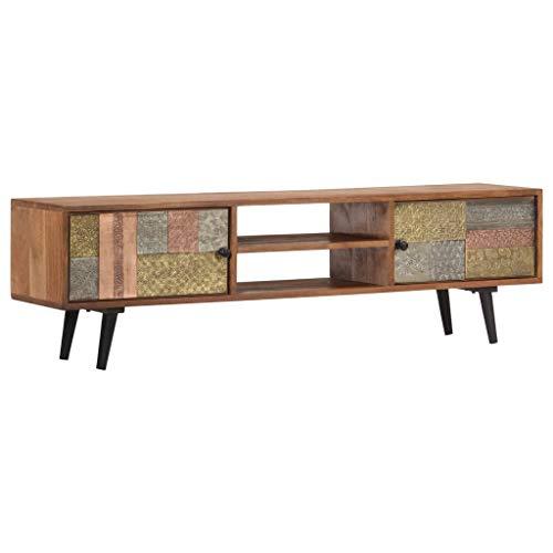 Festnight TV-Schrank | Vintage Fernsehtisch | TV Lowboard Tisch | Retro Fernsehschrank | Holz TV Board | Massives Akazienholz 140 x 30 x 40 cm
