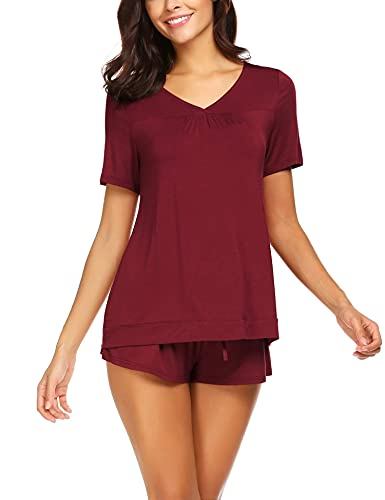 Avidlove Women's Shorts Pajama Set Short Sleeve Sleepwear Nightwear Pjs Dark Red M