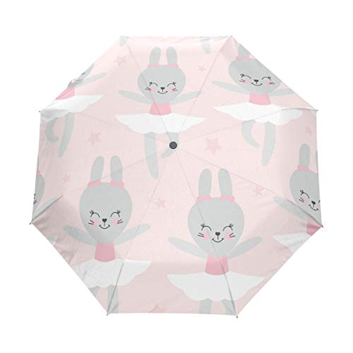 Compact Travel Regenschirm Ballerina Rabbit Auto Open Close Regenschirm Windproof Anti-UV