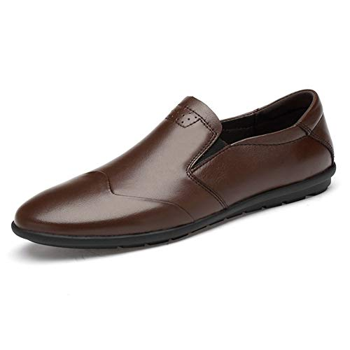 DADIJIER Driving Loafer for Men Summer Boat Shoes Pull on Genuine Leather Round Toe British Style Casual Breathable Anti Slip Lightweigh Soft (Color : Brown, Size : 6 M US)