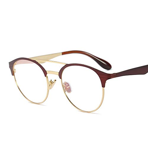 nobrand Optische Brillen, reduziert Überanstrengung der Augen Klare Sichtscheibe, Abendkleid-Partei ultraleichte Damen Mode Retro-Runde Glas-Rahmen hohe Qualität (Color : Wine red/goldBlack)