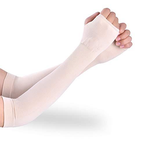 Goodplan Sport-Armstulpen UV-Schutz Radfahren Armschutz Ice Silk Sleeves für Radfahren Wandern Golf Basketball (Weiß) - 3