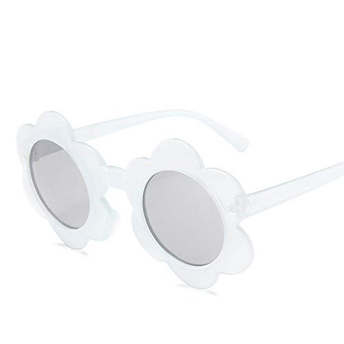 LAOGEFJ Gafas de Sol Retro para niños Gafas de Sol para niños Flores Redondas Lindo bebé niño UV400 Gafas de Sol Deportivas niña niño