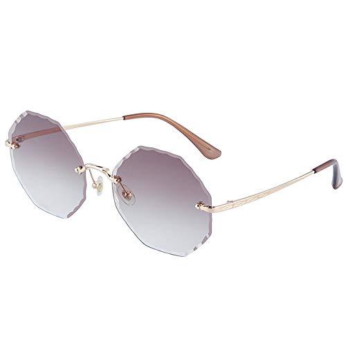 Gafas de sol femeninas sin montura de color degradado de cara grande adelgazante, sombra de espejo degradado sin borde con protección UV, lente de nailon a juego (color: marrón)