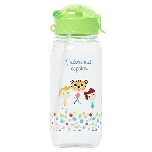 Draeger – Botella para niños J'Adore Mes Copains – Botella reutilizable ilustrada – Botella infantil con pajita – Sin BPA – Apto para lavavajillas