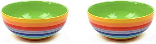 WYN Windhorse Ceramics Regenbogen gestreifte Frühstücksflocken Müsli Dessertschale (1, 2 Stück
