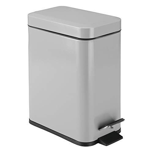 mDesign 1.3 Gallon Rectangular Slim Profile Steel Step Trash Can Wastebasket, Garbage Container Bin for Bathroom, Powder Room, Bedroom, Kitchen, Craft Room, Office - Removable Liner Bucket - Gray