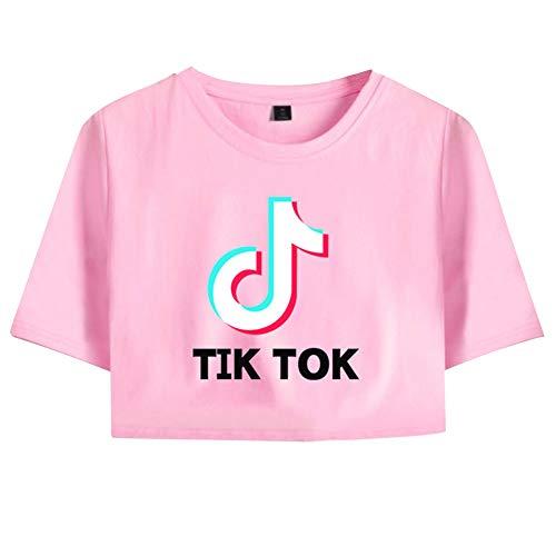 Crop Top para Mujer Camiseta Manga Corta TIK TOK Impresión Camiseta T-Shirt Corta Blusa Suelta Túnica Hip Hop tee Camiseta Básica Adolescentes C00605TX135S