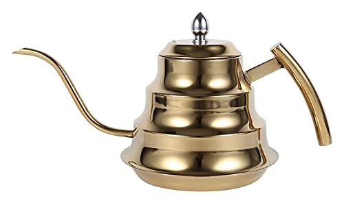 KAIFENGJUBIAN Gießkanne Metall 1,2L GOOSECK Kaffeekanne, Edelstahlbrauer for die Verwendung auf Gas elektrischer Induktionsherd nach Hause Watering cans (Color : Gold)