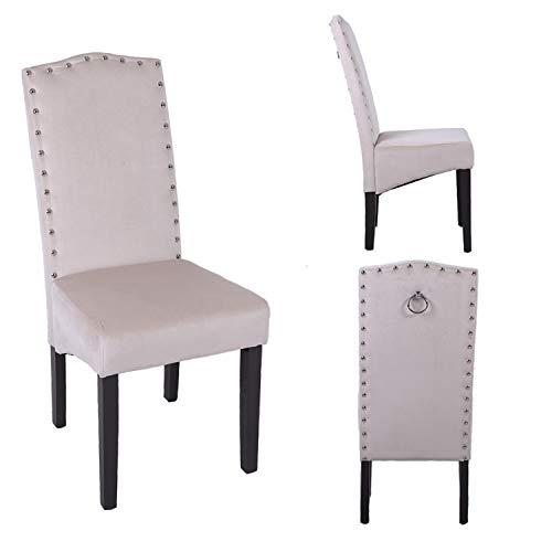 PS Global - Juego de 2 sillas de Comedor Knockerback de Terciopelo de Calidad (Crema)